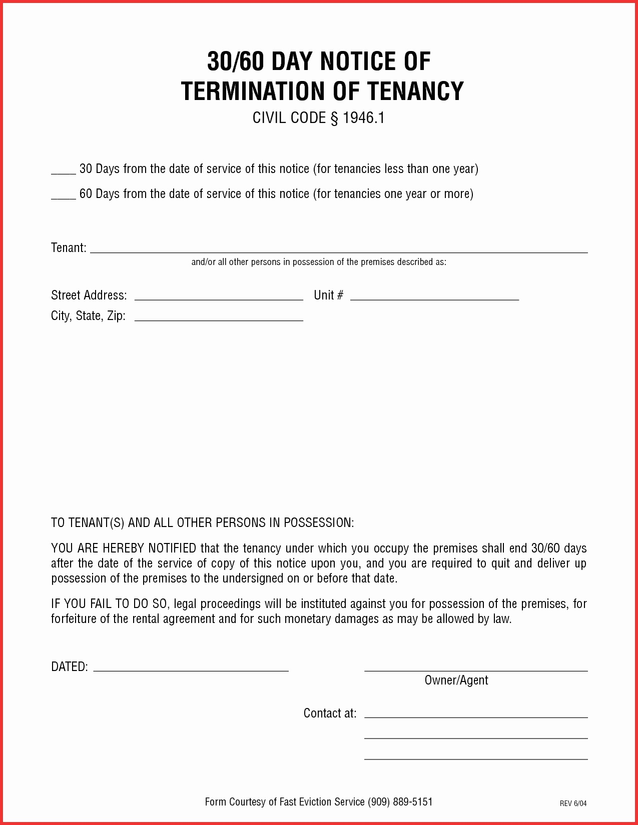 008 Imposing 30 Day Eviction Notice Template Inspiration  Pdf FormFull