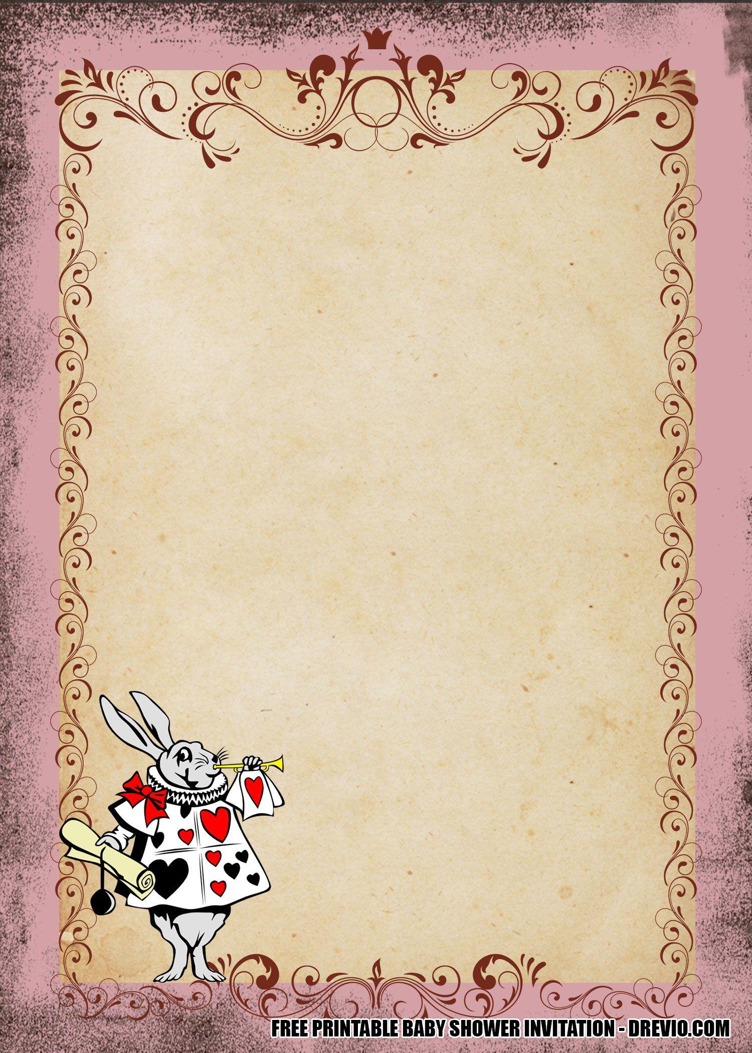 008 Imposing Alice In Wonderland Invitation Template High Resolution  Templates Wedding Birthday Free Tea PartyFull