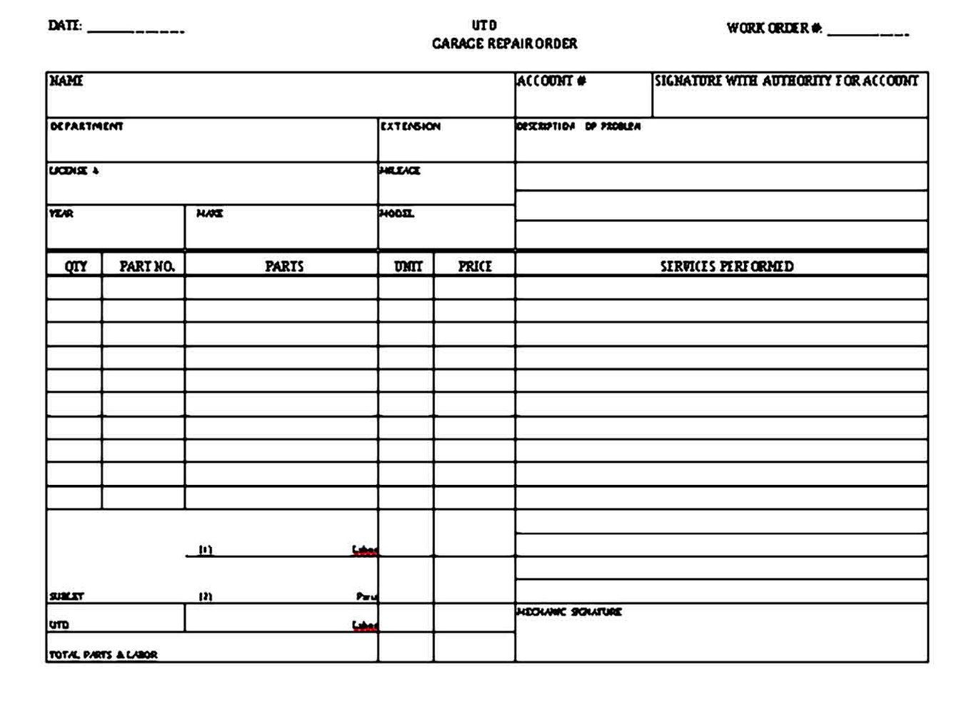 008 Imposing Auto Repair Invoice Template Free High Resolution  Excel Printable PdfFull