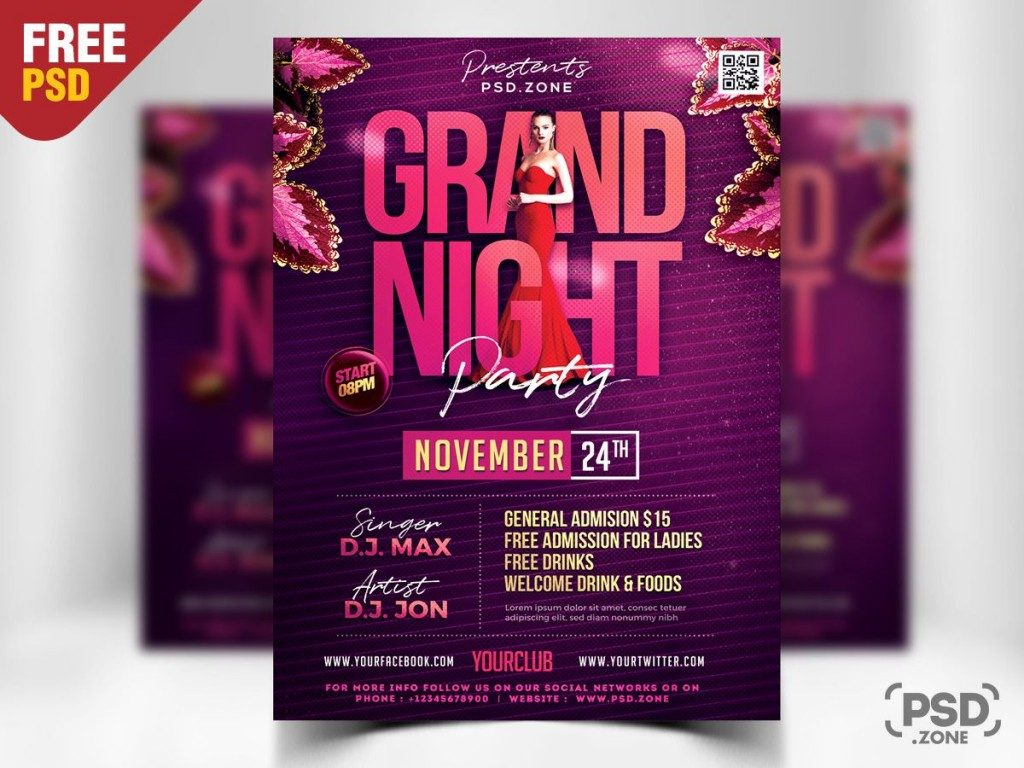 008 Imposing Free Party Flyer Template For Photoshop Example  Pool Psd DownloadLarge