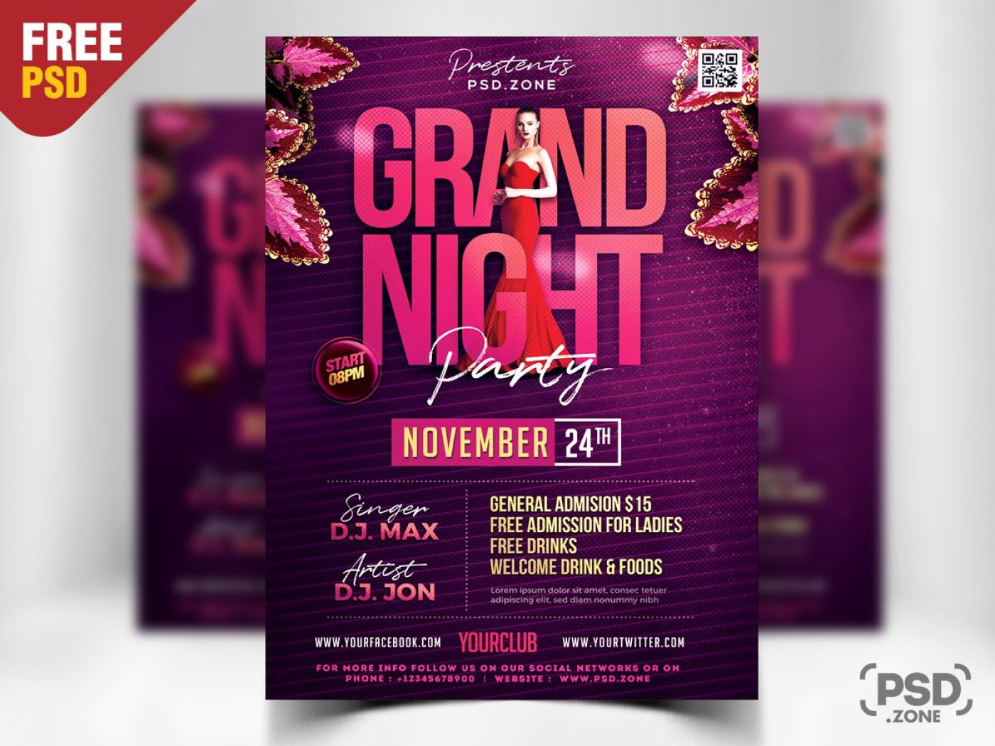 008 Imposing Free Party Flyer Template For Photoshop Example  Pool Psd Download1400