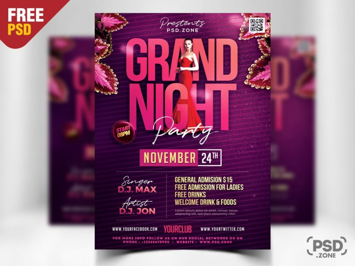 008 Imposing Free Party Flyer Template For Photoshop Example  Pool Psd Download728