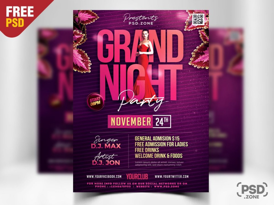 008 Imposing Free Party Flyer Template For Photoshop Example  Pool Psd Download960