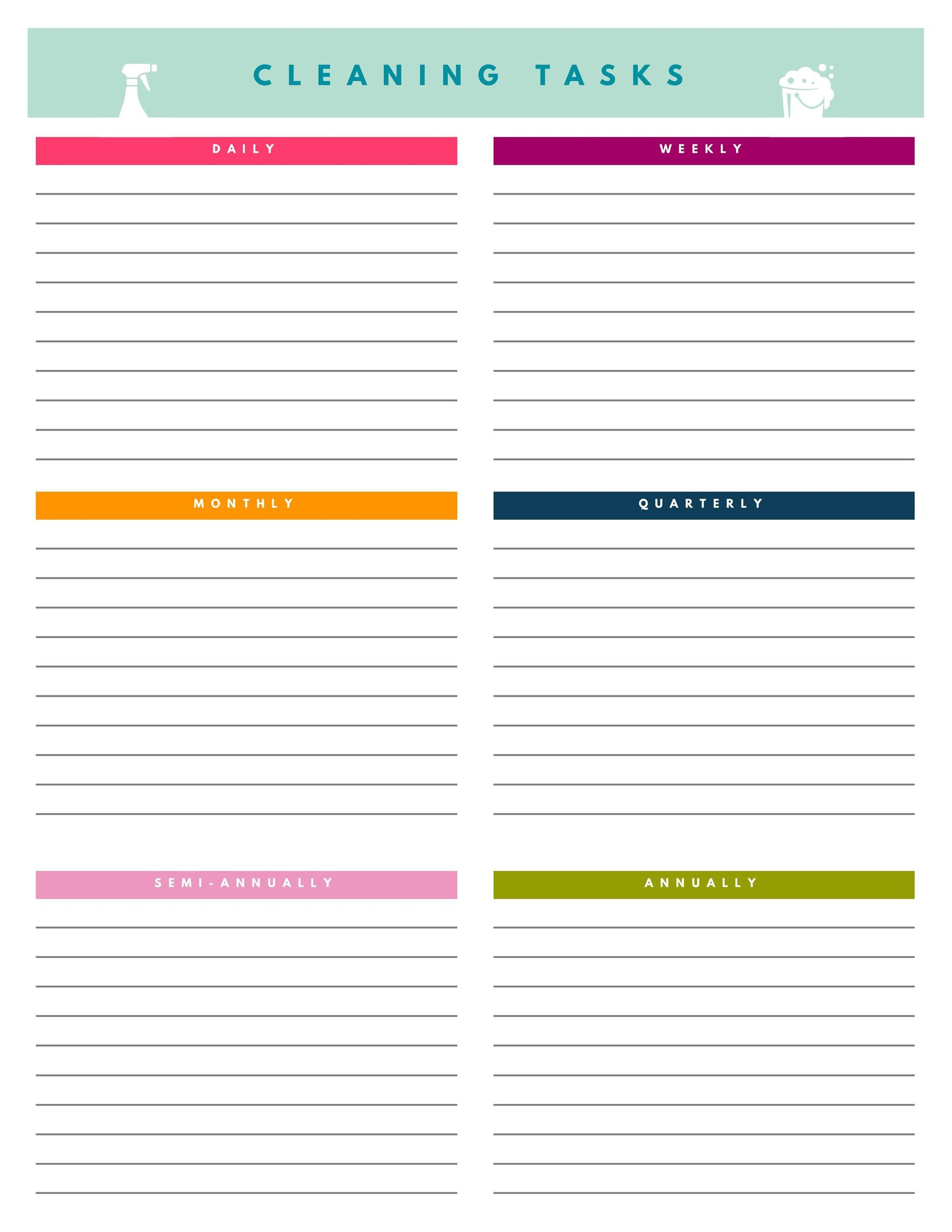 008 Imposing Free Printable Weekly Cleaning Schedule Template Idea  OfficeFull