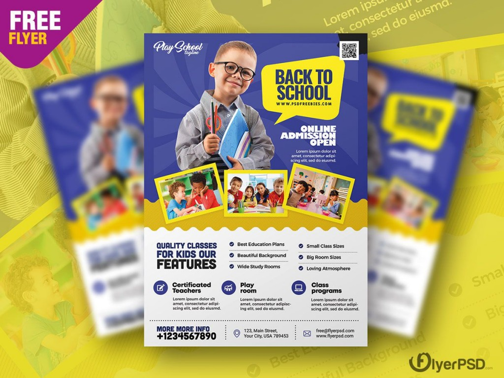 008 Imposing Free School Flyer Template Psd Highest Quality  Brochure Download Back ToLarge