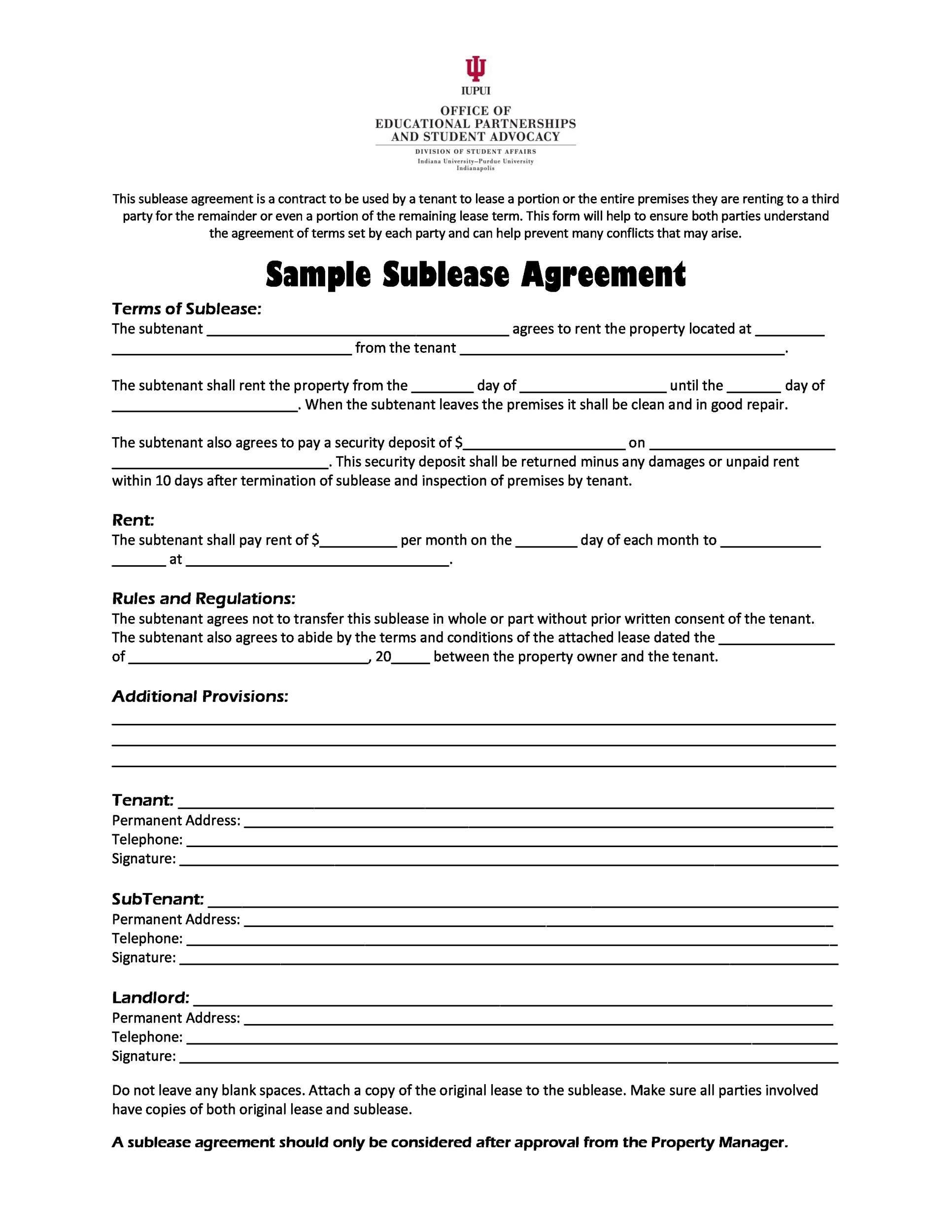 008 Imposing Free Sublease Agreement Template Idea  Lease Word South AfricaFull