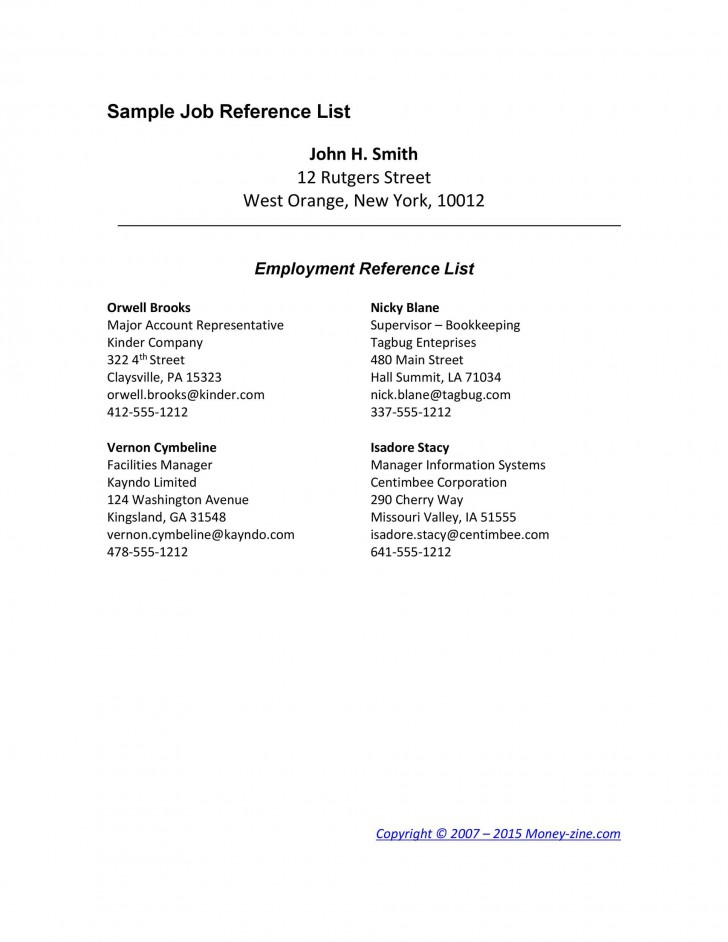008 Imposing List Of Professional Reference Format Example  Template728