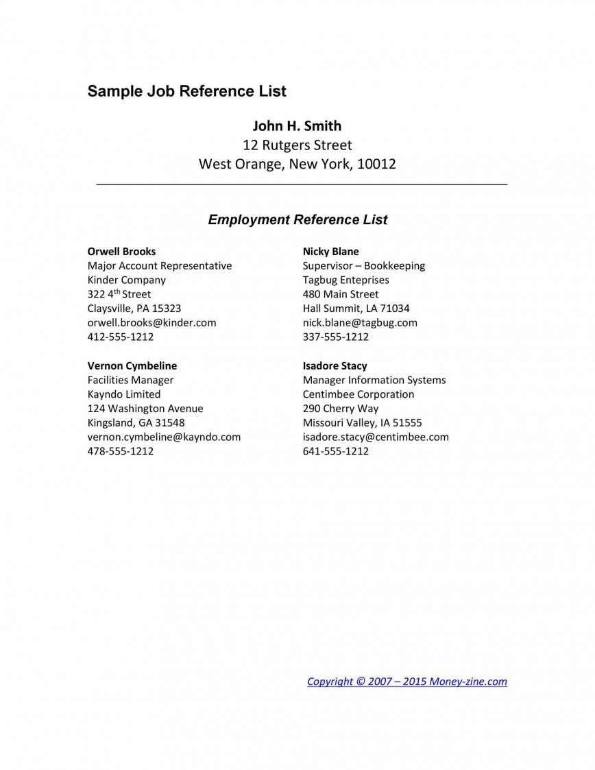 008 Imposing List Of Professional Reference Format Example  Template868