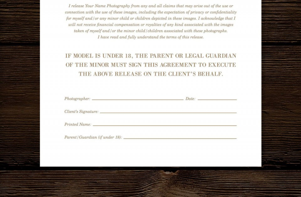 008 Imposing Model Release Form Template High Def  Photographer Gdpr Simple960