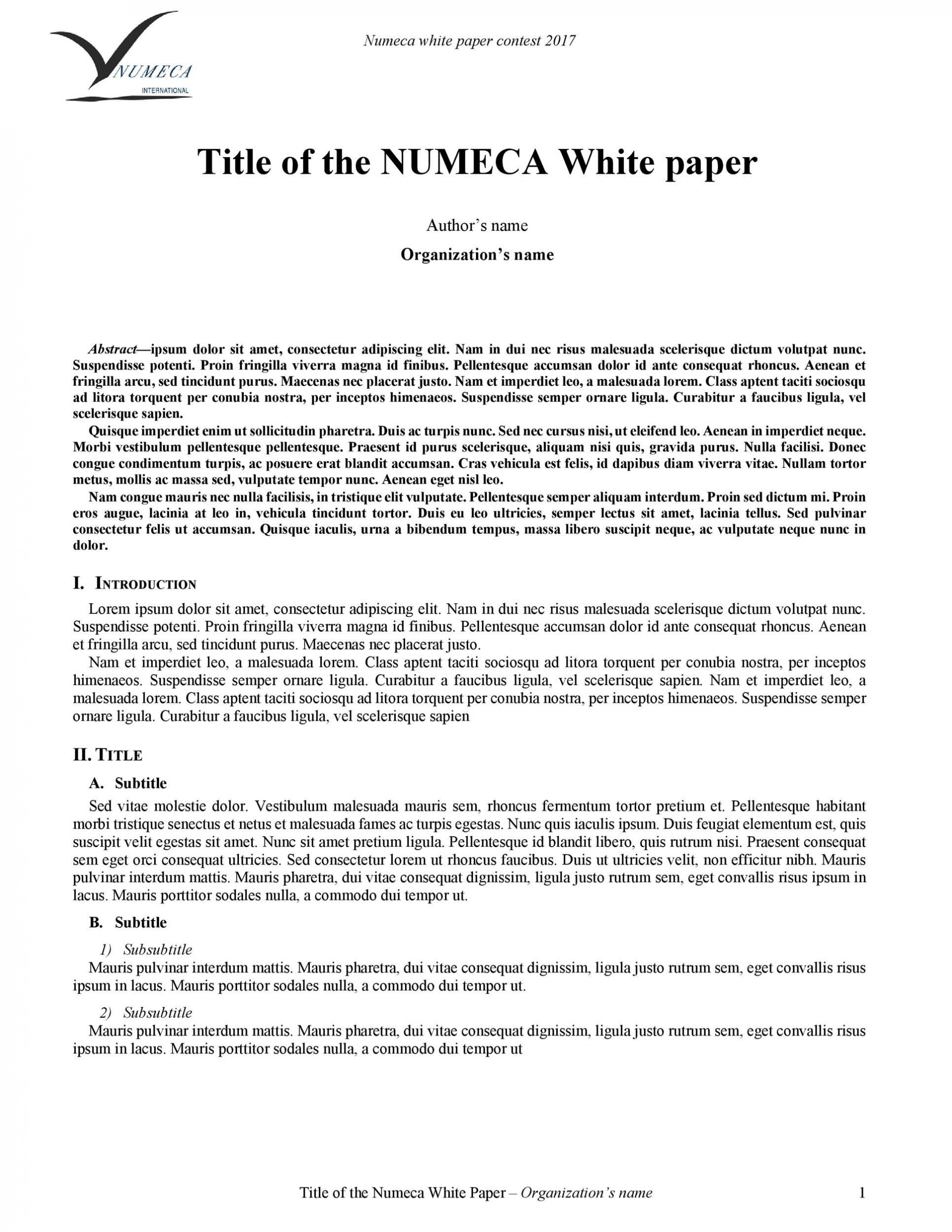 008 Imposing White Paper Outline Sample Concept 1920