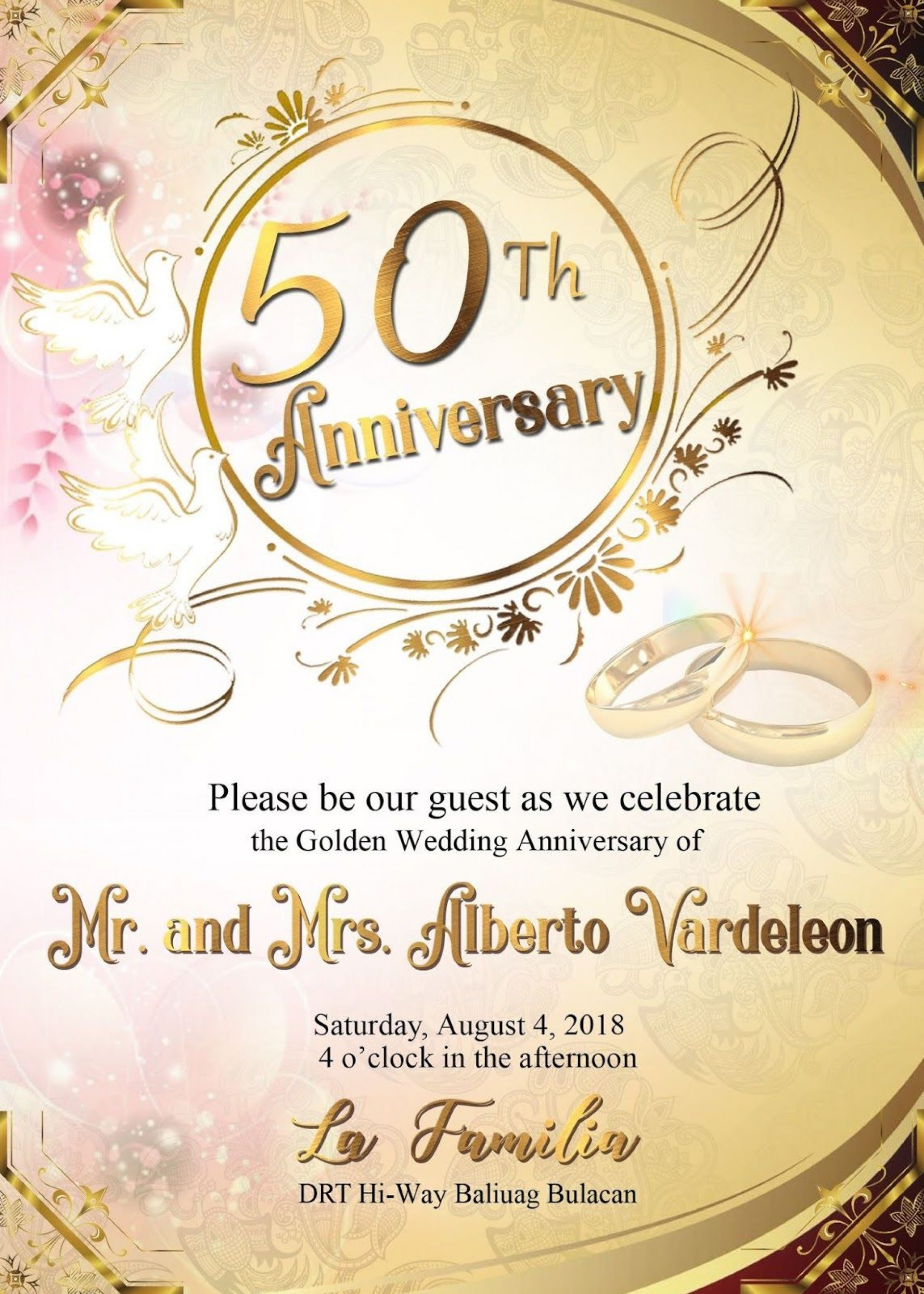 008 Impressive 50th Wedding Anniversary Invitation Template Concept  Templates Card Sample Golden1920