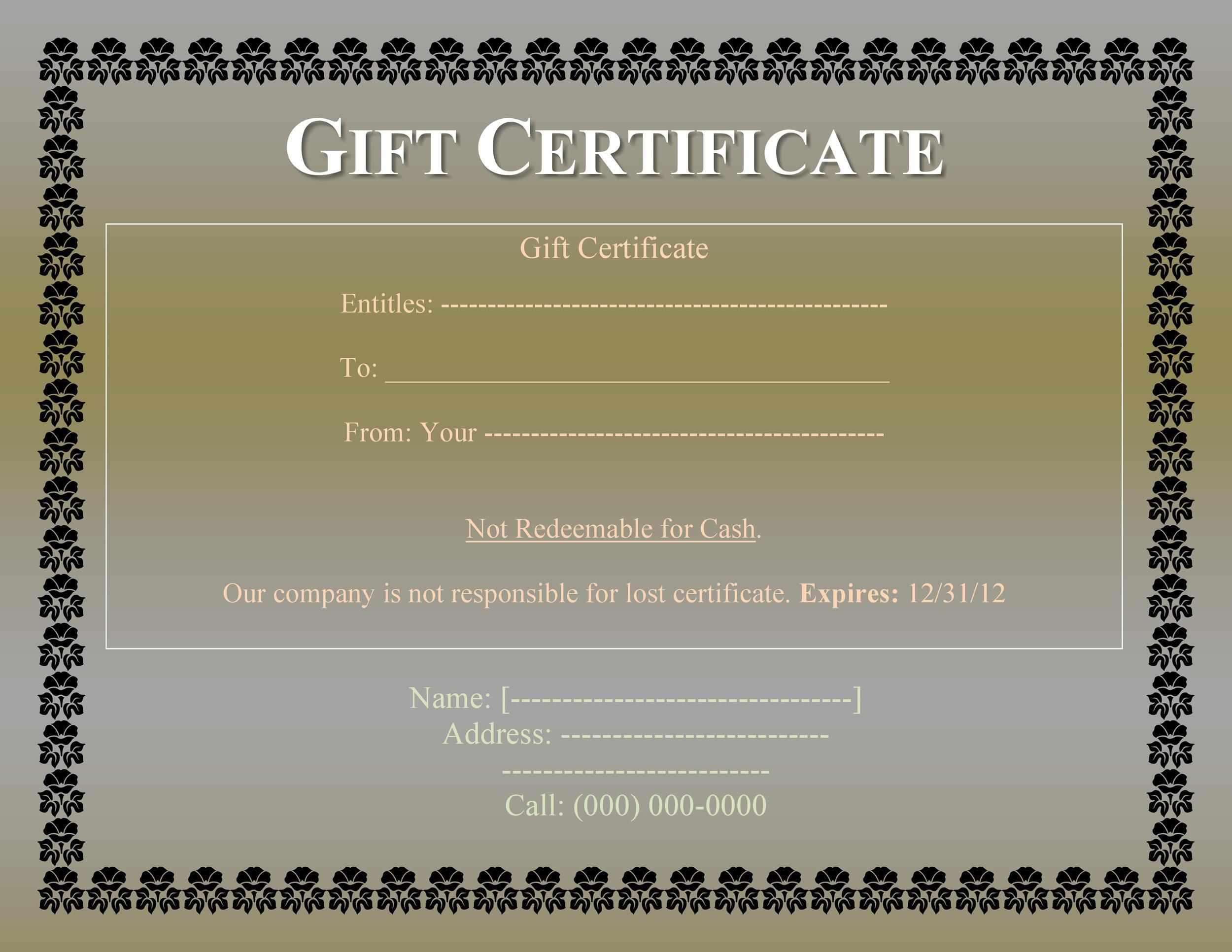 008 Impressive Free Printable Template For Gift Certificate Design  VoucherFull