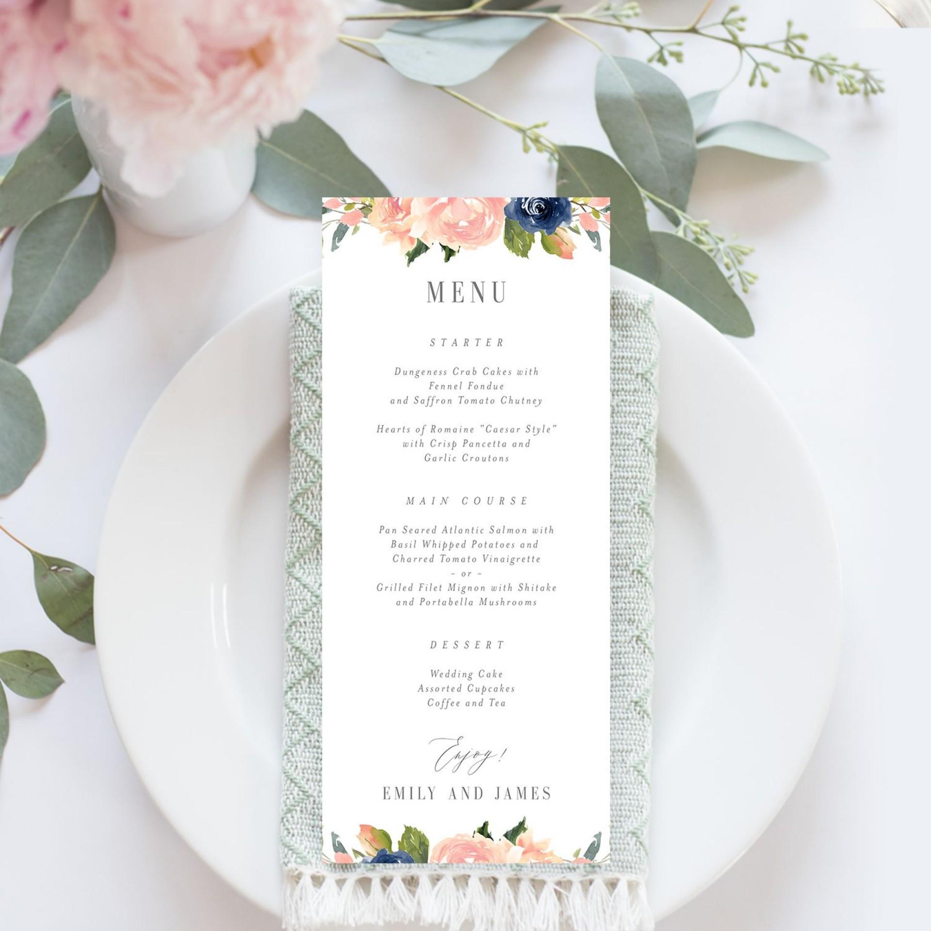008 Impressive Free Printable Wedding Menu Card Template Example  Templates1920