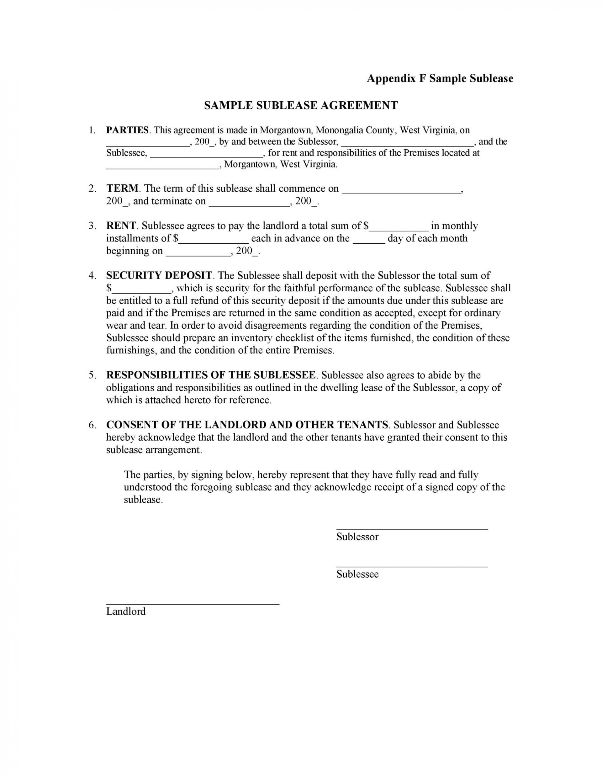 008 Impressive Free Sublease Agreement Template Pdf Image  Room Rental Car Form Residential Lease1920