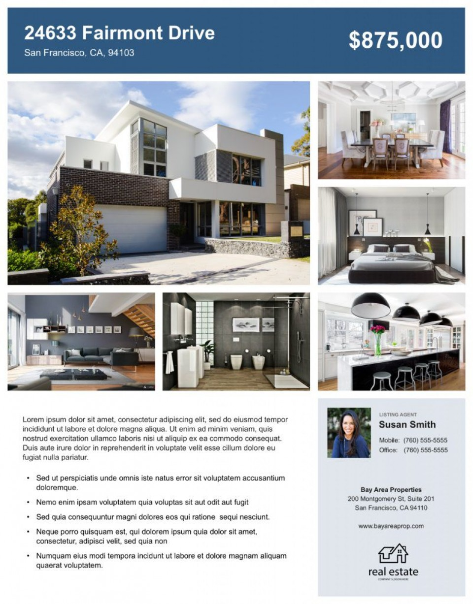 008 Impressive House For Sale Flyer Template Highest Quality  Free Real Estate Example By Owner960