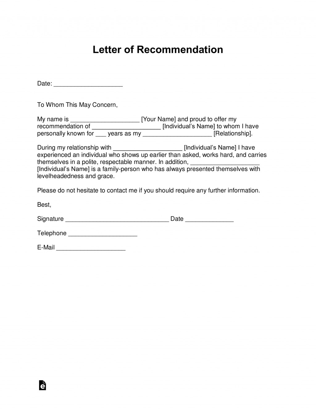 008 Impressive Letter Of Recommendation Template Word Concept  General UkLarge