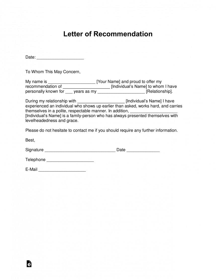008 Impressive Letter Of Recommendation Template Word Concept  General Short Uk