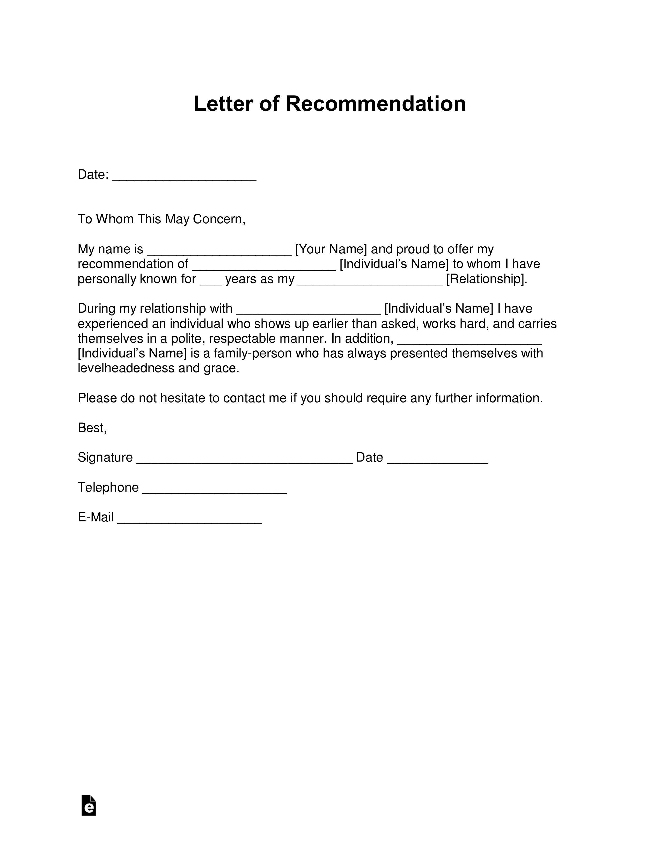 008 Impressive Letter Of Recommendation Template Word Concept  General UkFull