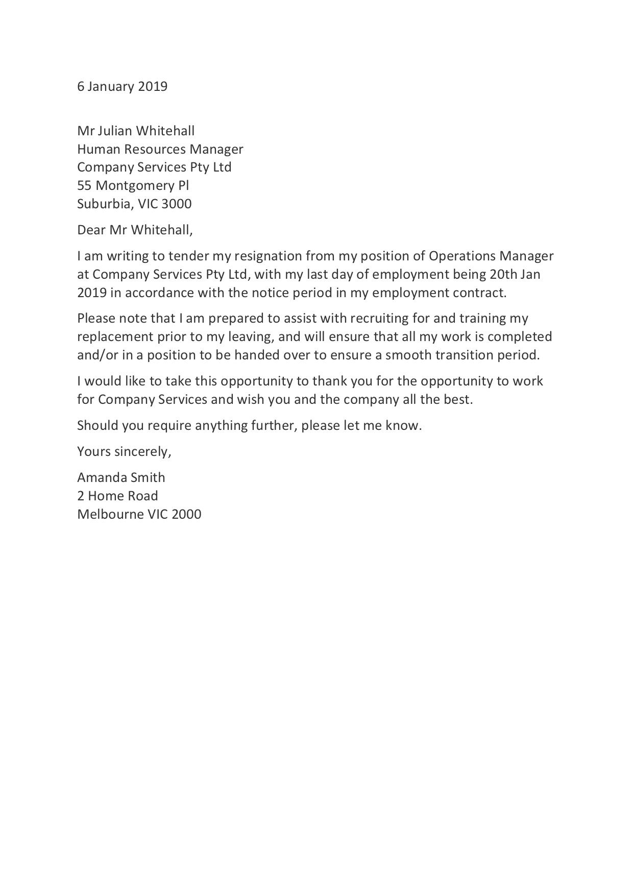 Letter Of Resignation Template ~ Addictionary