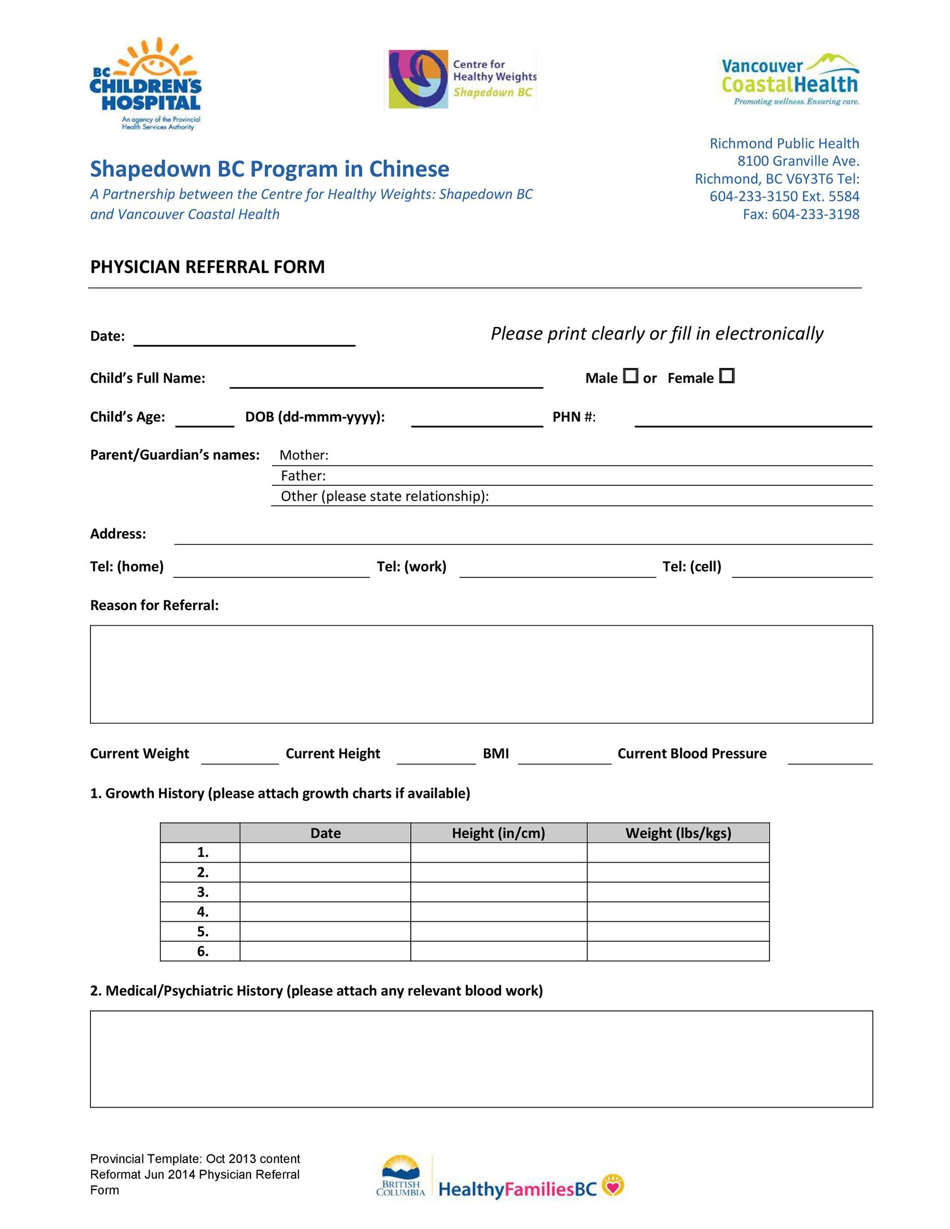 008 Impressive Medical Referral Form Template Photo  Dental Patient Doctor Free PhysicianFull