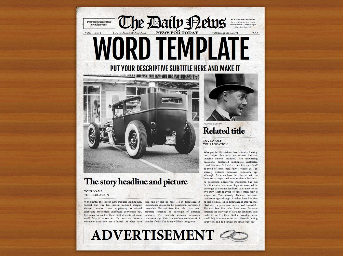 008 Impressive Microsoft Word Newspaper Template High Resolution  Vintage Old Fashioned1400