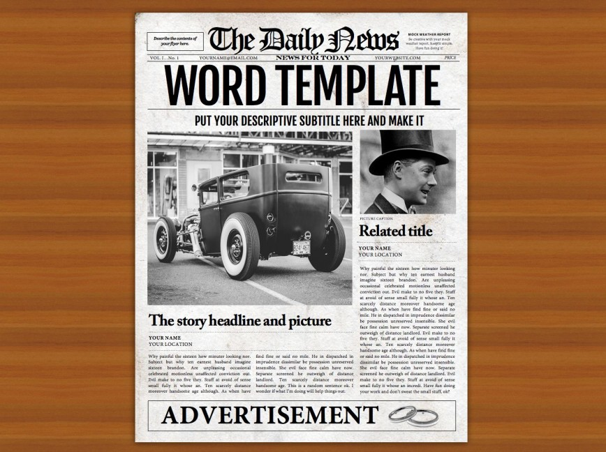 008 Impressive Microsoft Word Newspaper Template High Resolution  Vintage Old Fashioned868