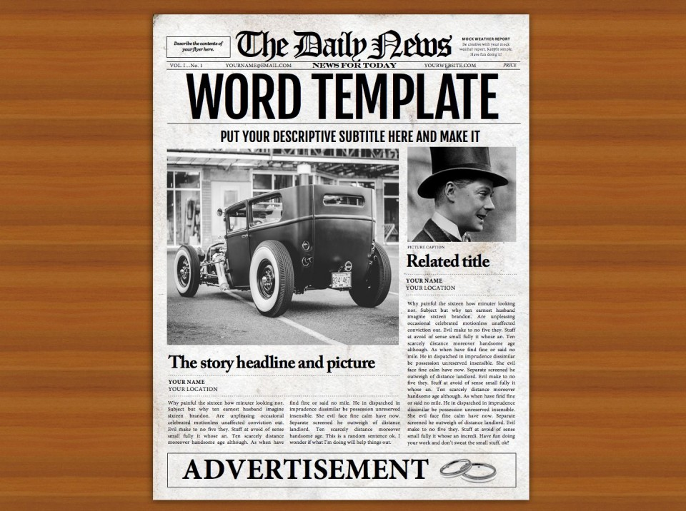 008 Impressive Microsoft Word Newspaper Template High Resolution  Vintage Old Fashioned960