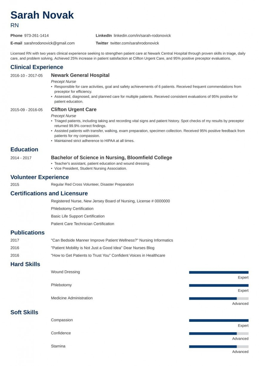 008 Impressive New Grad Nursing Resume Template Example  Graduate Nurse Practitioner868