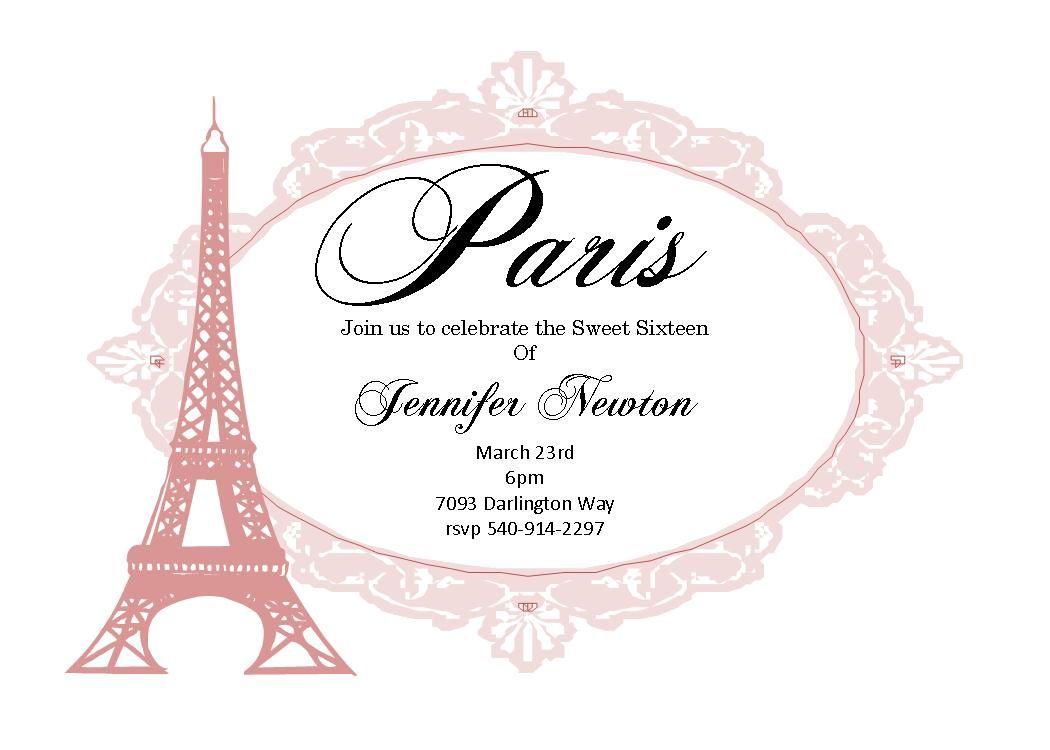 008 Impressive Pari Birthday Invitation Template Free Photo Full