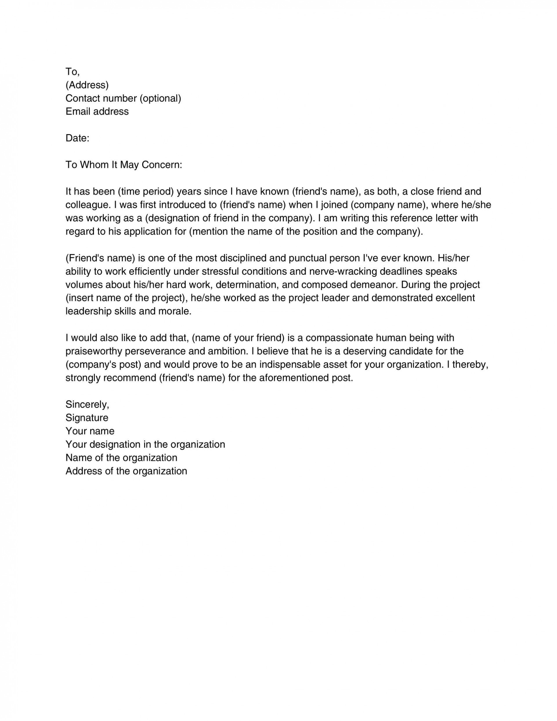 008 Impressive Personal Reference Letter Of Recommendation Template Example  Sample Character1920