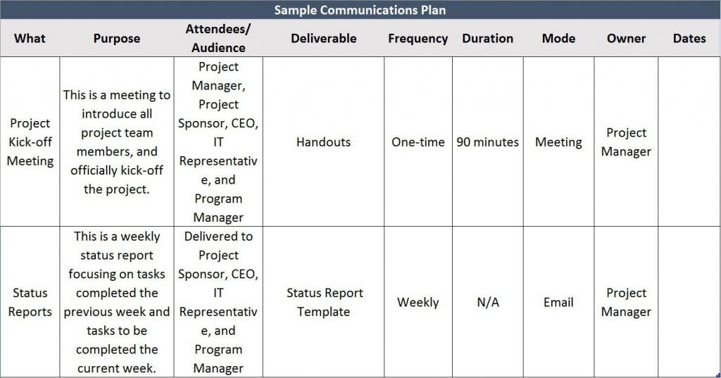 008 Impressive Project Communication Plan Template Highest Quality  Pmbok Pdf Excel FreeLarge