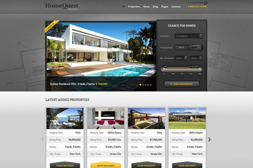 008 Impressive Real Estate Template Wordpres High Def  Homepres - Theme Free Download Realtyspace868
