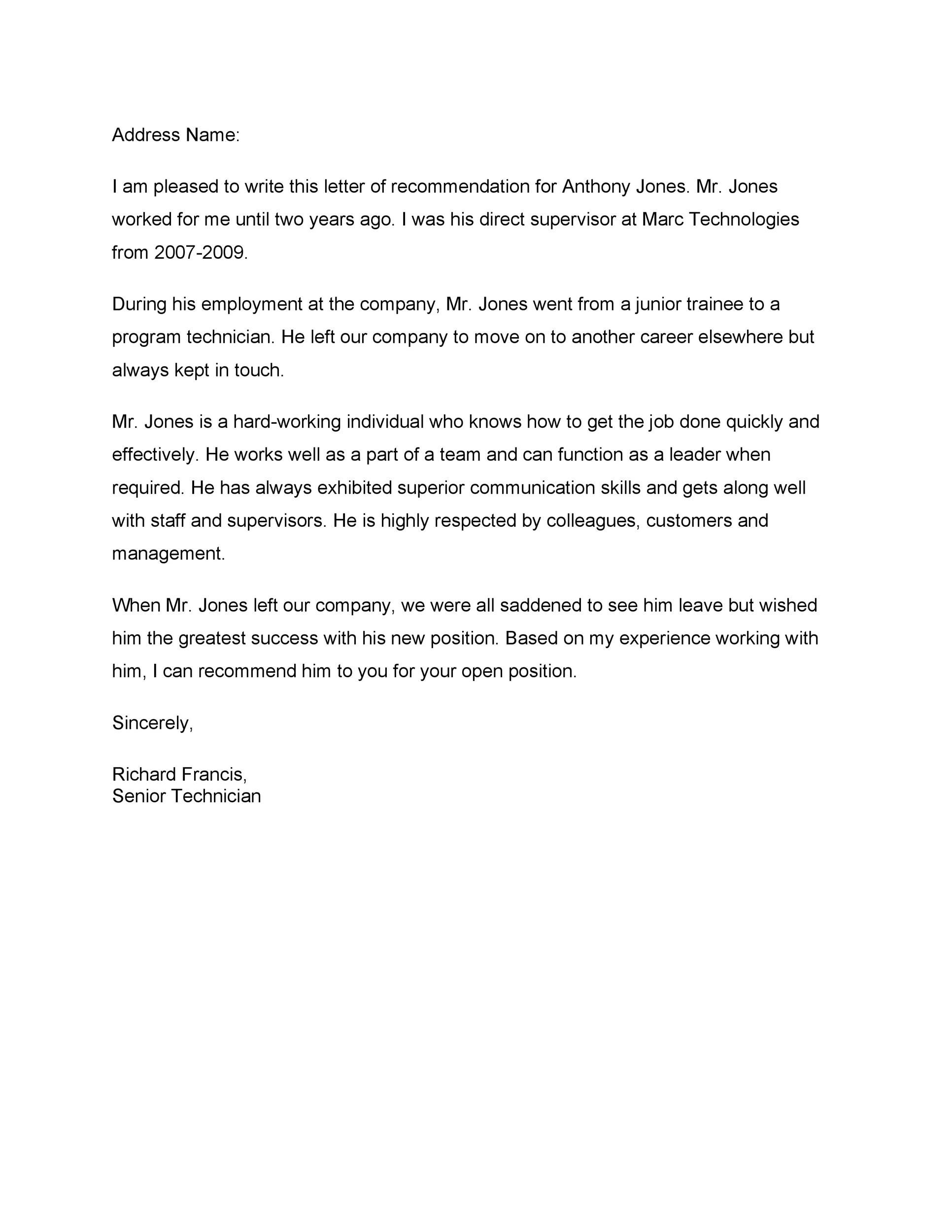 Recommendation Letter Template For Job from www.addictionary.org