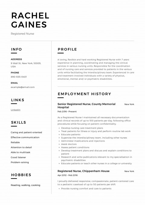 008 Impressive Resume Template For Nurse Inspiration  Sample Nursing Assistant With No Experience Rn' Free480