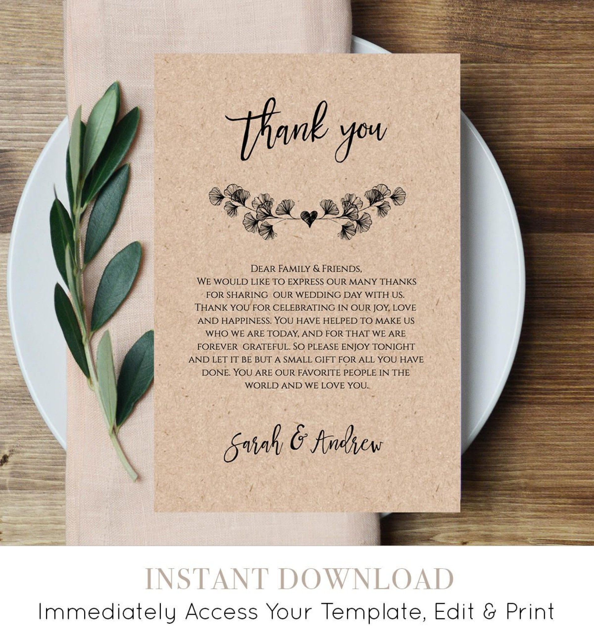 008 Impressive Thank You Note For Wedding Guest Template Sample  Card1920