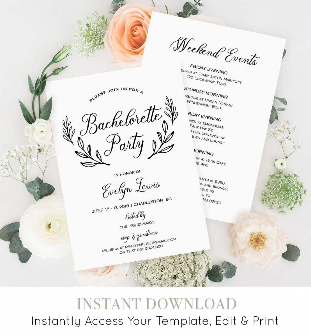 008 Incredible Bachelorette Party Itinerary Template Free Inspiration  DownloadLarge