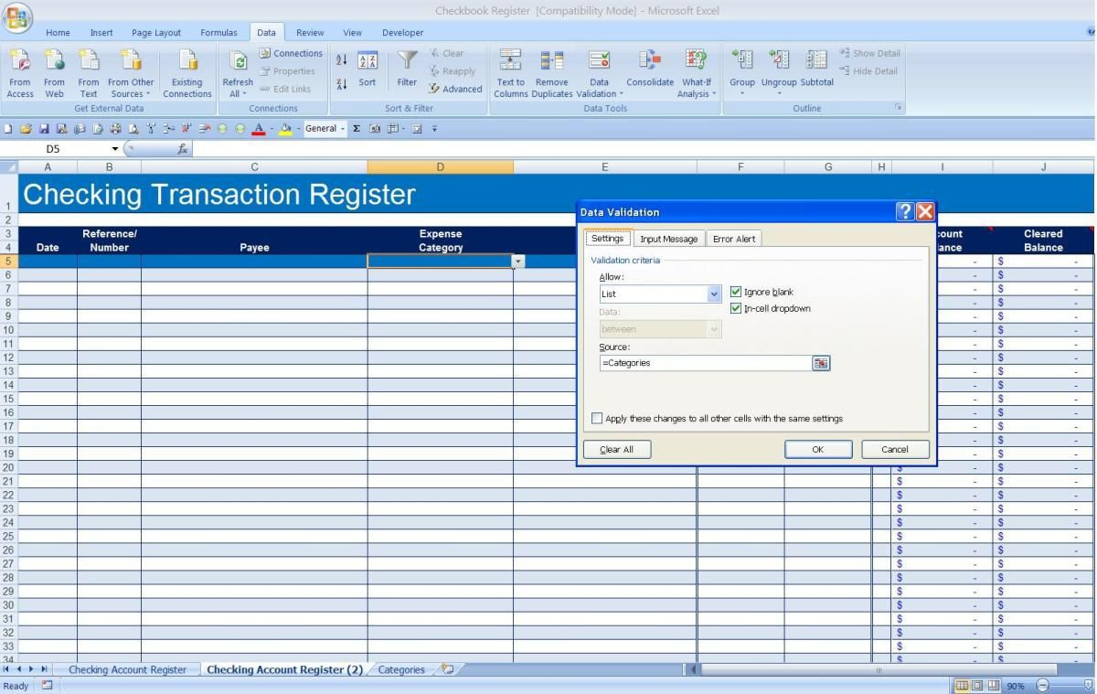 008 Incredible Checkbook Register Template Excel 2013 Highest Quality Full