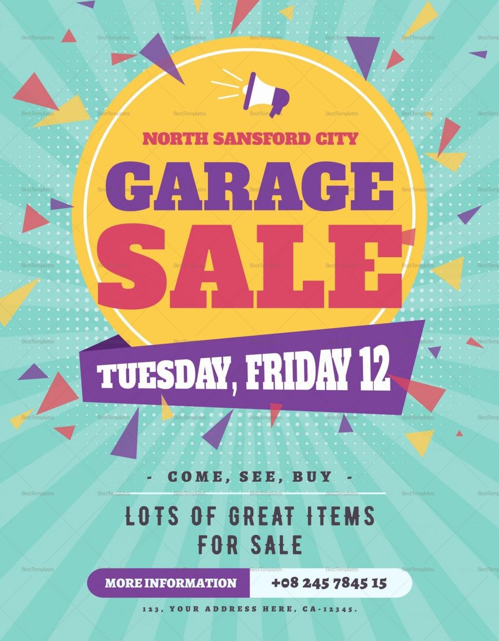 008 Incredible Garage Sale Flyer Template Free Example  Community Neighborhood YardLarge