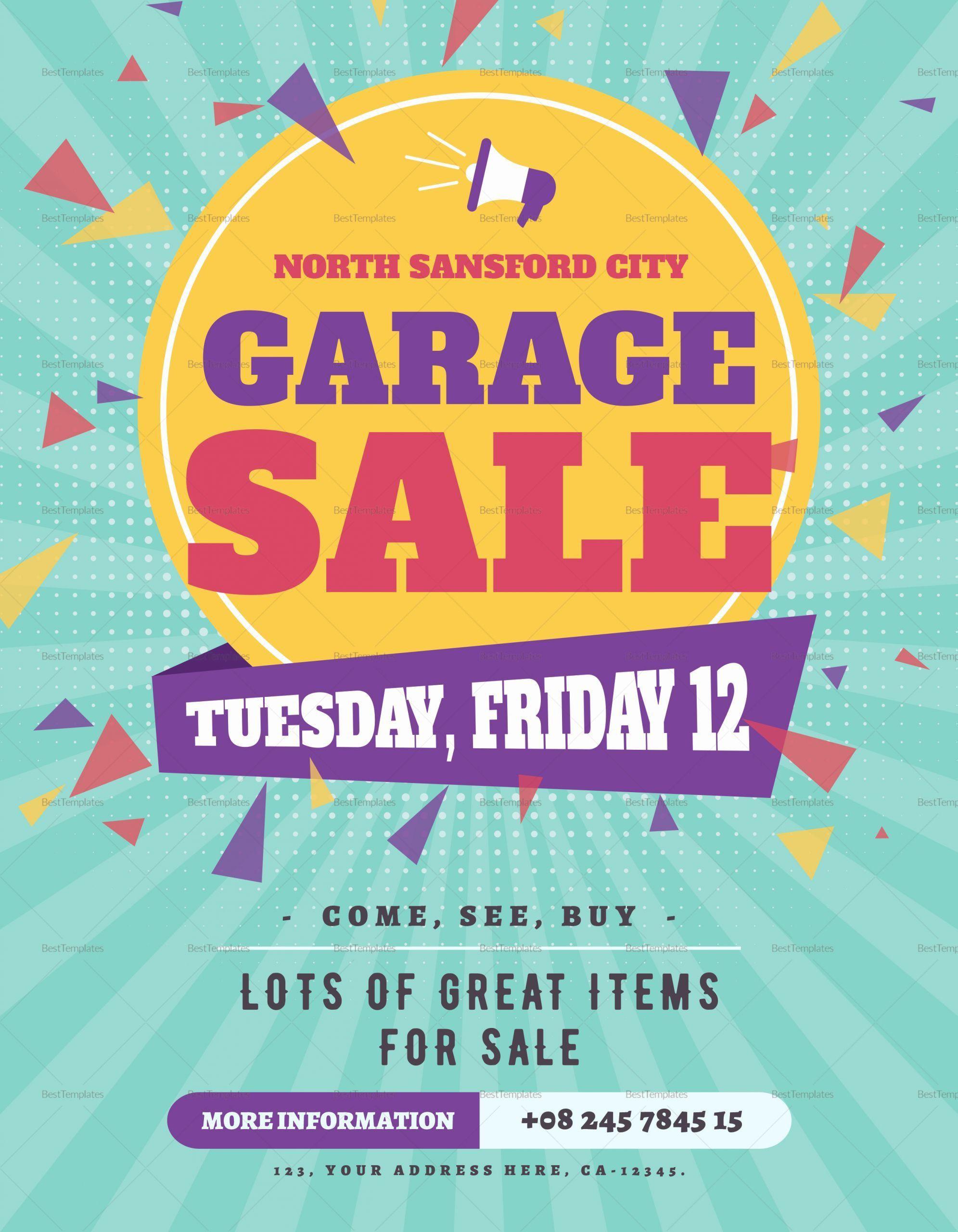008 Incredible Garage Sale Flyer Template Free Example  Community Neighborhood YardFull