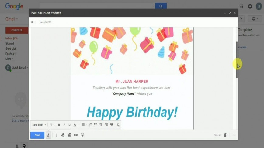 008 Incredible Happy Birthday Email Template Image  Letter To Employee Outlook