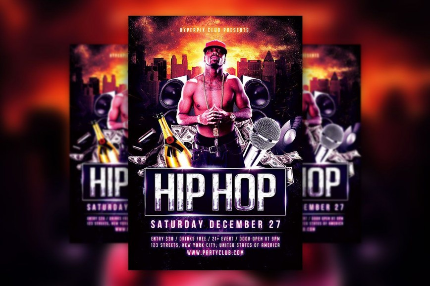 008 Incredible Hip Hop Flyer Template Concept  Templates Free Psd Download
