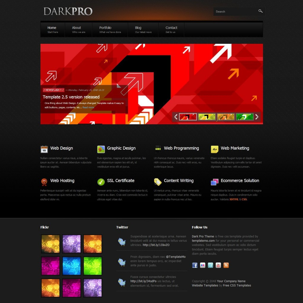 008 Incredible Html Cs Template Free Download With Slider High Def  Responsive WebsiteLarge