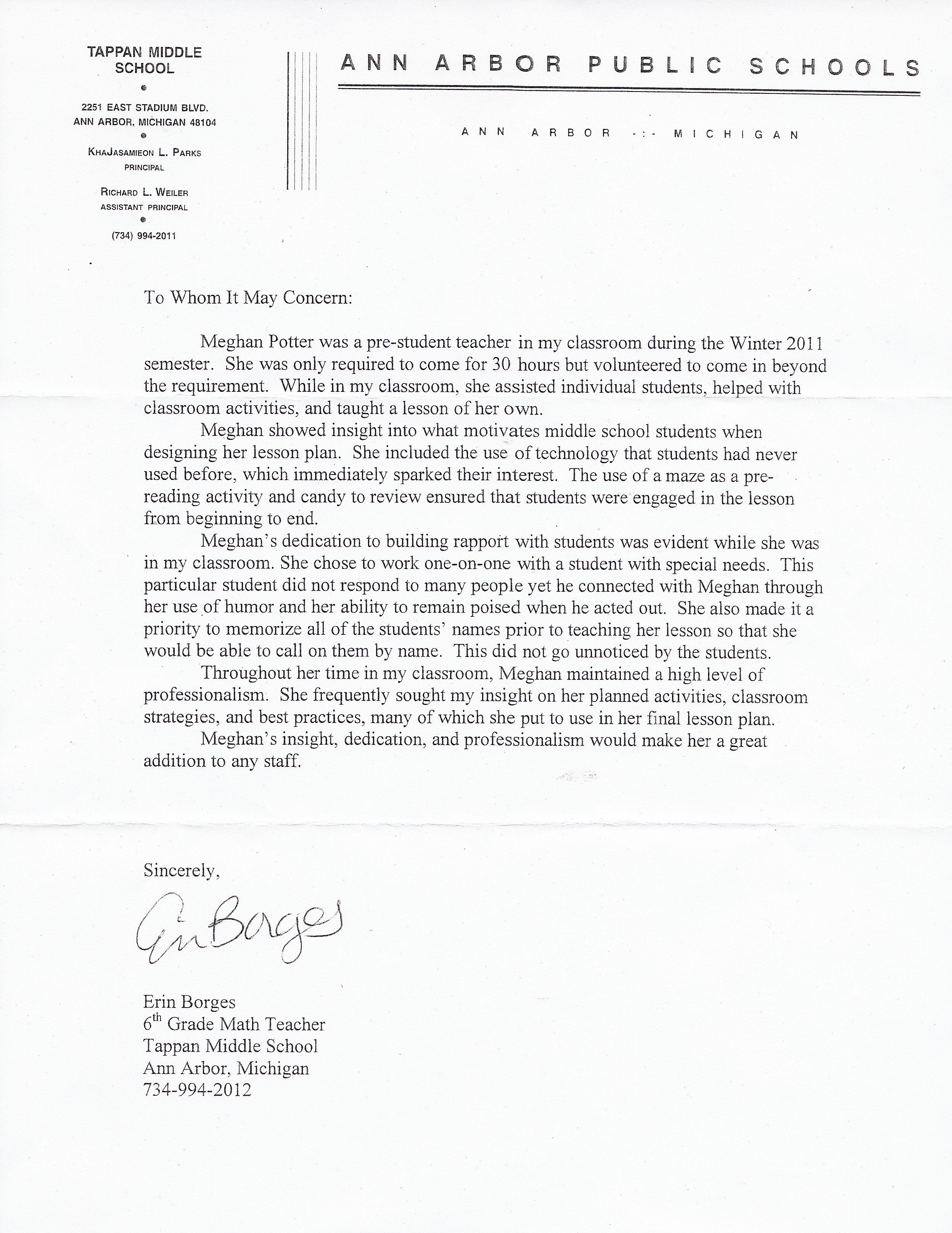 008 Incredible Letter Of Recommendation For Student Teacher From Cooperating Template Inspiration Full