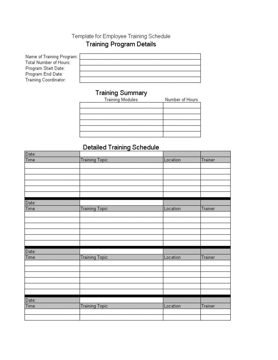 008 Incredible New Employee Training Plan Template High Resolution  Excel Free Download Program960