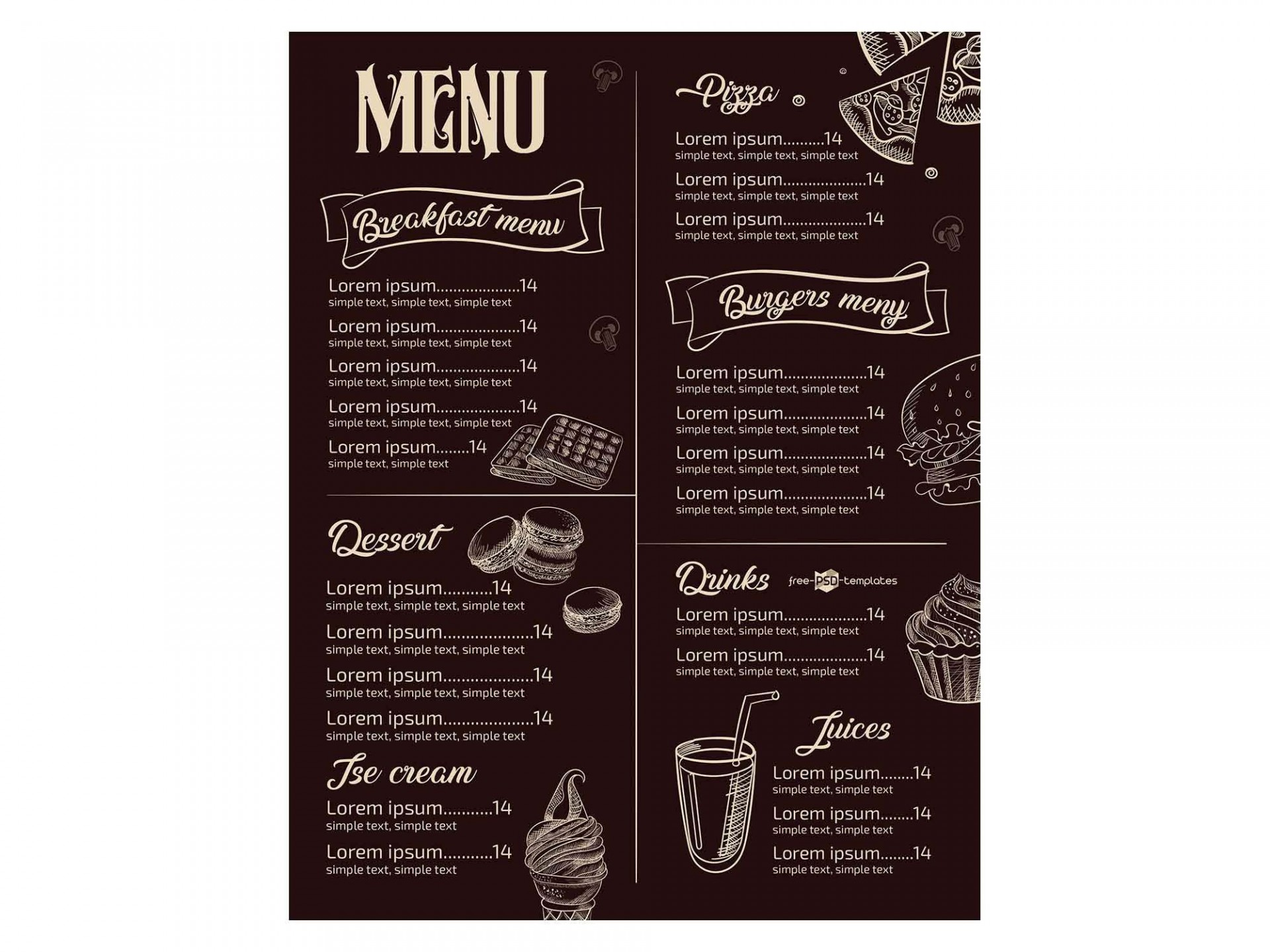 008 Incredible Restaurant Menu Template Free Highest Clarity  Card Download Indesign Word1920