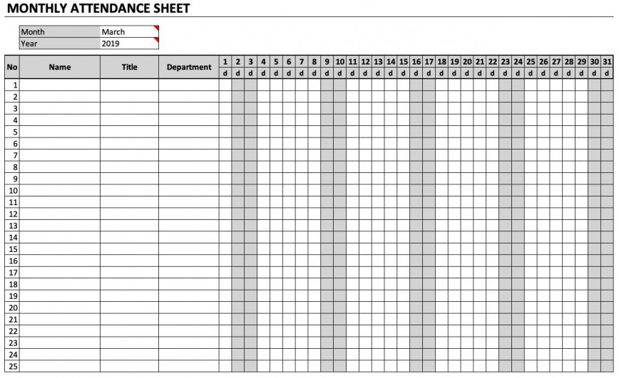 008 Magnificent Employee Attendance Record Template Excel Picture  Free Download Daily