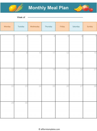 008 Magnificent Excel Weekly Meal Planner Template Highest Clarity  With Grocery List Downloadable320