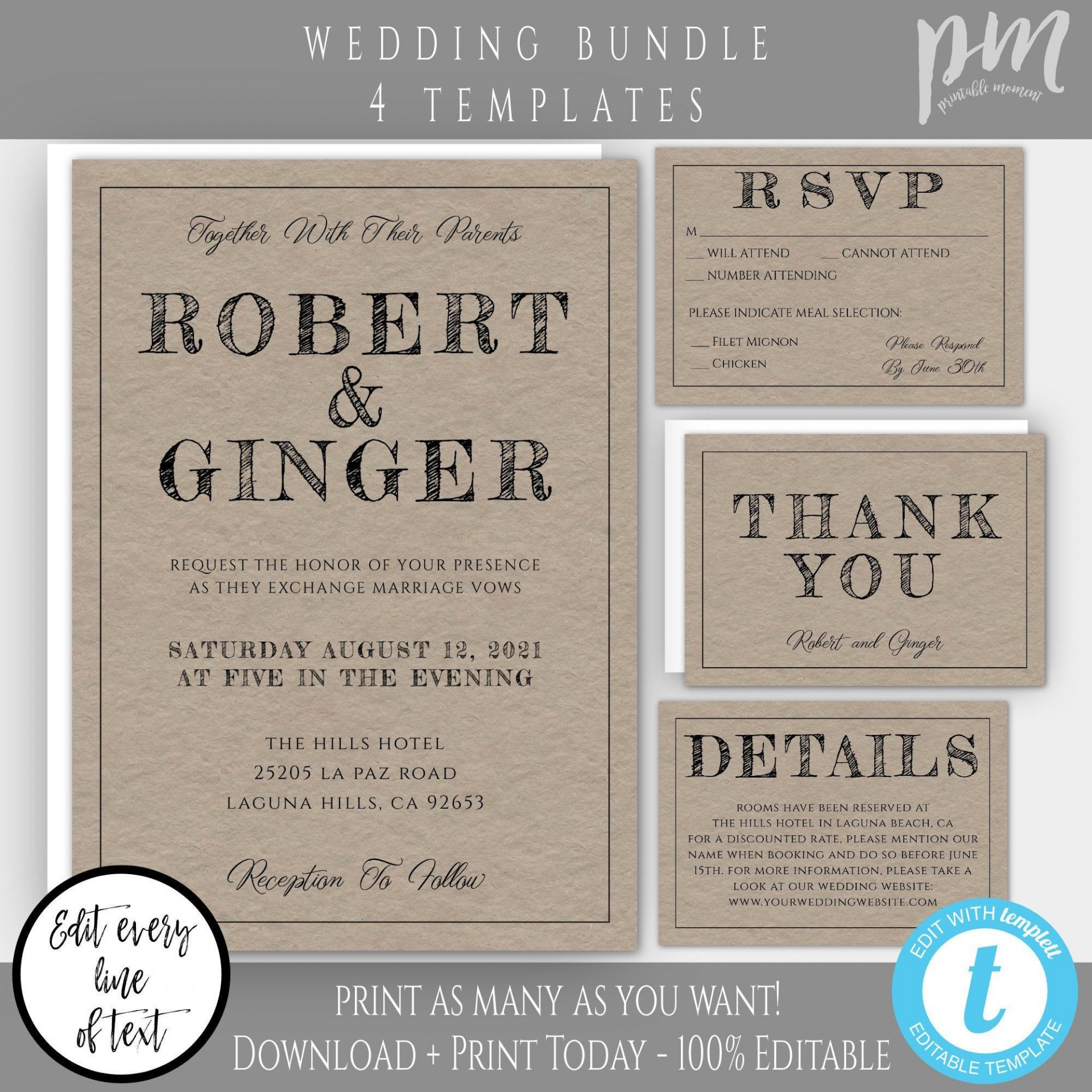 008 Magnificent Rustic Wedding Invitation Template Example  Templates Free For Word Maker Photoshop1920