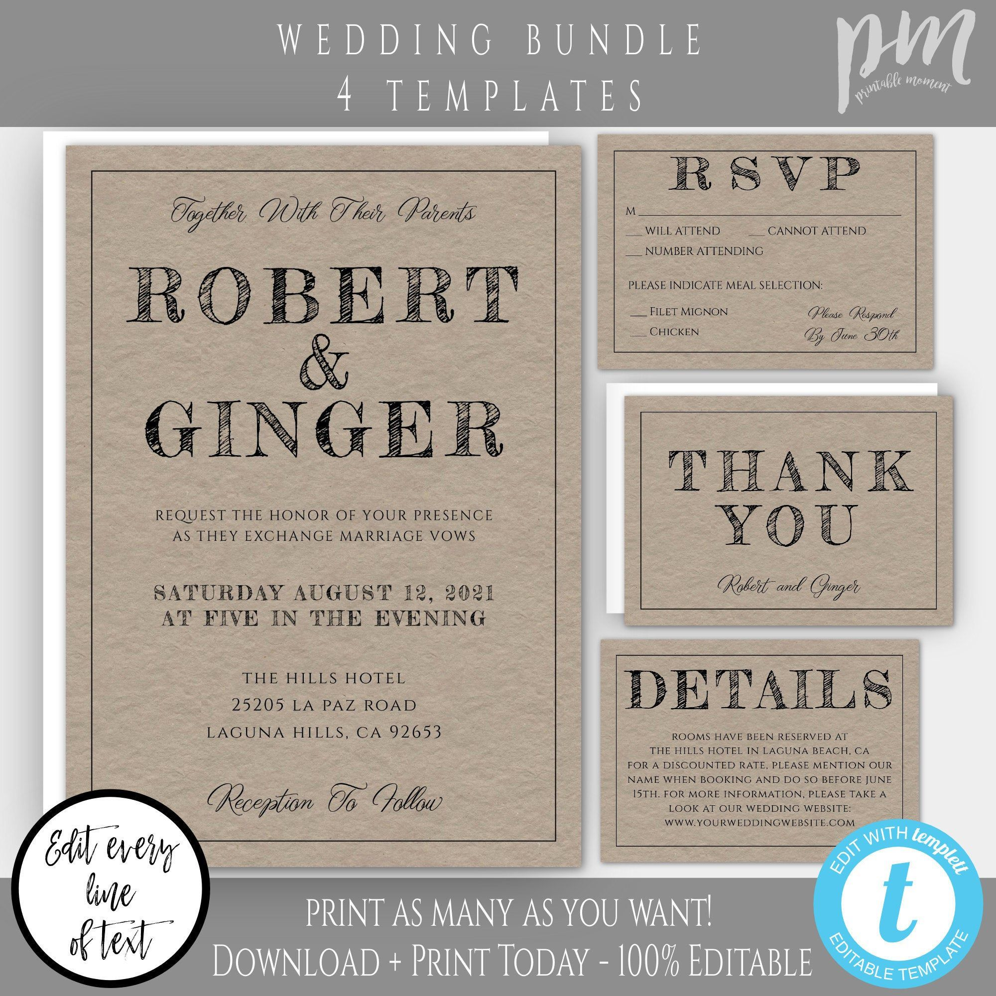 008 Magnificent Rustic Wedding Invitation Template Example  Templates Free For Word Maker PhotoshopFull