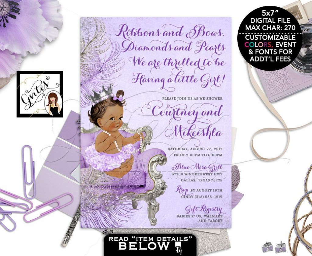 008 Marvelou Baby Shower Invitation Girl Purple Inspiration Large
